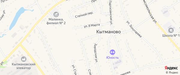 Западный переулок на карте села Кытманово с номерами домов