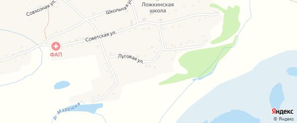 Луговая улица на карте села Ложкино с номерами домов