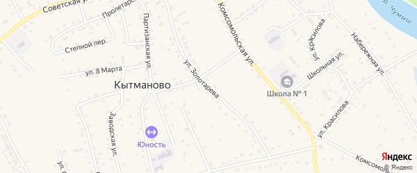 Улица Золотарева на карте села Кытманово с номерами домов