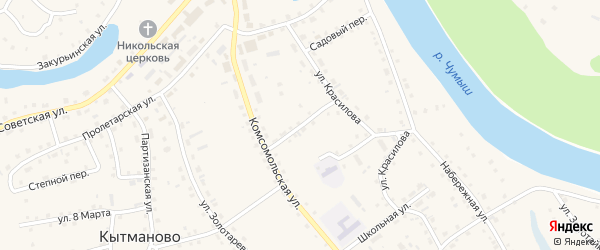 Переулок Пирогова на карте села Кытманово с номерами домов