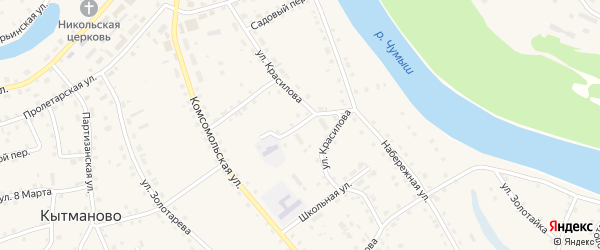 Улица Красилова на карте села Кытманово с номерами домов
