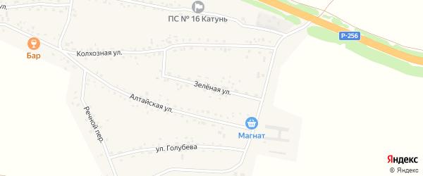 Зеленая улица на карте Верха-Катунского села с номерами домов