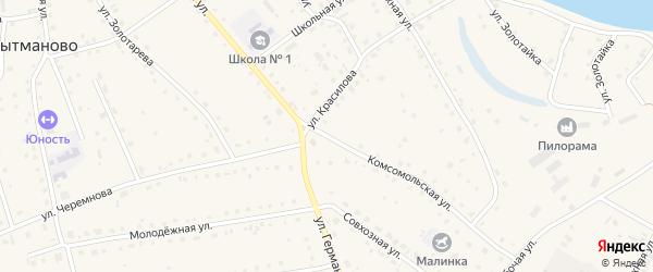 Комсомольская улица на карте села Кытманово с номерами домов