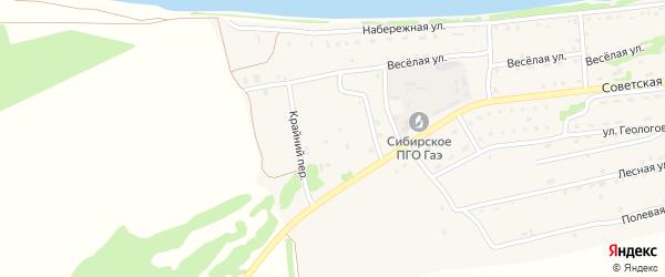 Солнечный переулок на карте Малоенисейского села с номерами домов