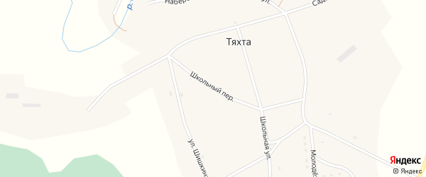 Школьный переулок на карте села Тяхты с номерами домов