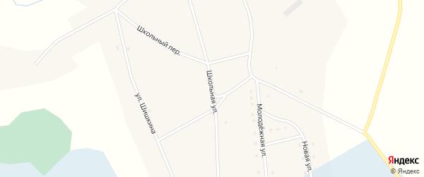 Школьная улица на карте села Тяхты с номерами домов