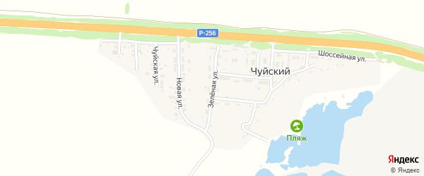 Зеленая улица на карте Чуйского поселка с номерами домов