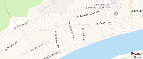 Пионерский переулок на карте Енисейского села с номерами домов