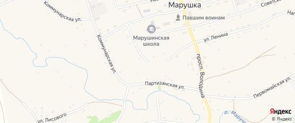 Снайперский переулок на карте села Марушки с номерами домов