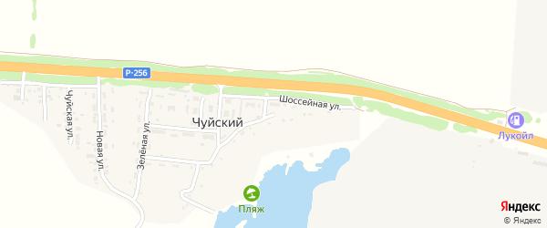 Шоссейная улица на карте Чуйского поселка с номерами домов