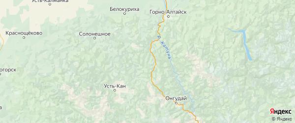 Карта Шебалинского района республики Алтай с городами и населенными пунктами