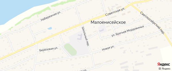 Школьный переулок на карте Малоенисейского села с номерами домов