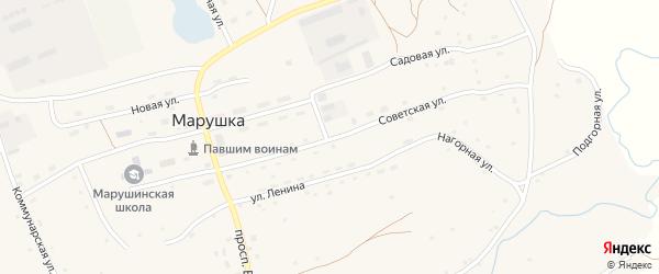 Советская улица на карте села Марушки с номерами домов