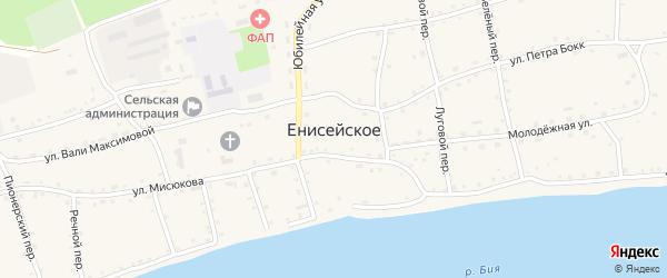 Короткий переулок на карте Енисейского села с номерами домов