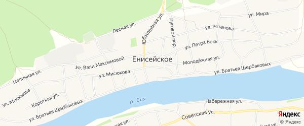 Карта Енисейского села в Алтайском крае с улицами и номерами домов