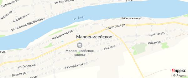 Карта Малоенисейского села в Алтайском крае с улицами и номерами домов