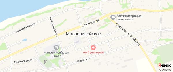 Центральный переулок на карте Малоенисейского села с номерами домов