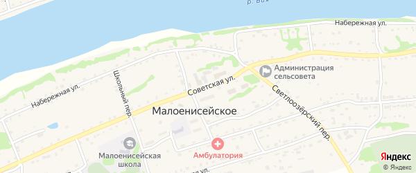 Советская улица на карте Малоенисейского села с номерами домов
