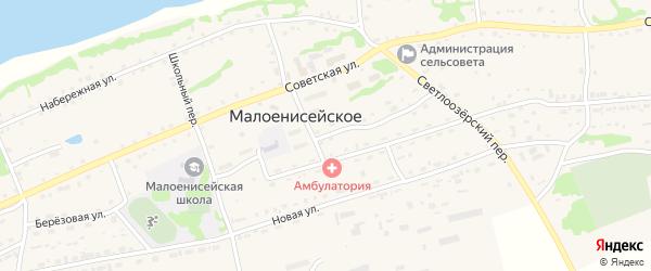 Улица Строителей на карте Малоенисейского села с номерами домов