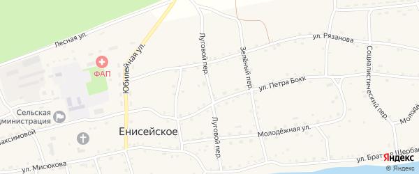 Луговой переулок на карте Енисейского села с номерами домов