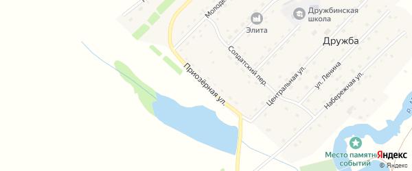 Приозерная улица на карте села Дружбы с номерами домов