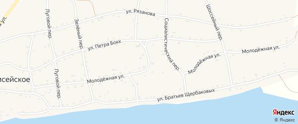 Молодежная улица на карте Енисейского села с номерами домов