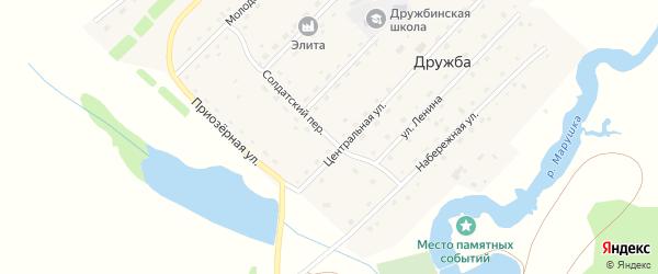 Солдатский переулок на карте села Дружбы с номерами домов