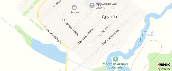 Центральная улица на карте села Дружбы с номерами домов