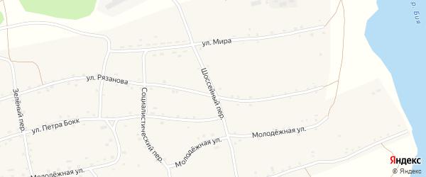 Шоссейный переулок на карте Енисейского села с номерами домов