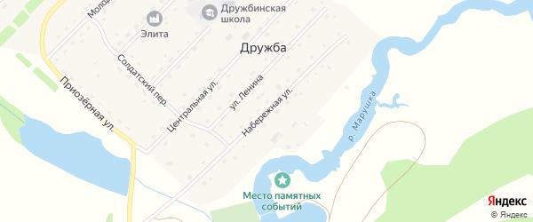 Набережная улица на карте села Дружбы с номерами домов