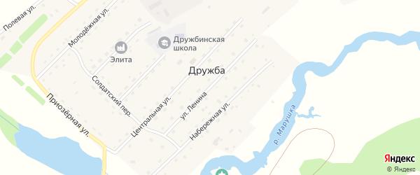 Улица Ленина на карте села Дружбы с номерами домов