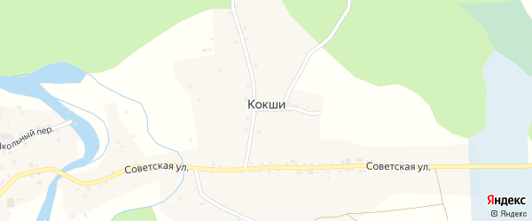 Западная улица на карте села Кокши с номерами домов