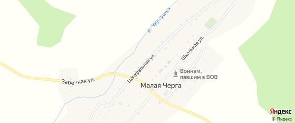 Центральная улица на карте села Малой Черги с номерами домов