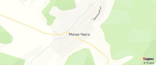 Карта села Малой Черги в Алтае с улицами и номерами домов