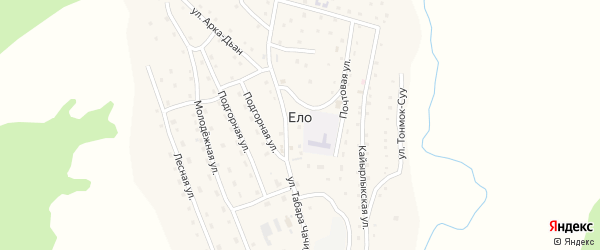 Молодежная улица на карте села Ело с номерами домов