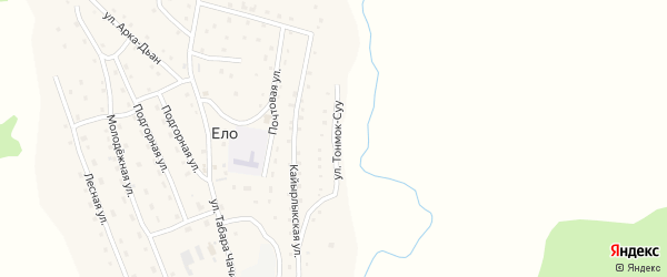 Улица Тонмок-Суу на карте села Ело с номерами домов