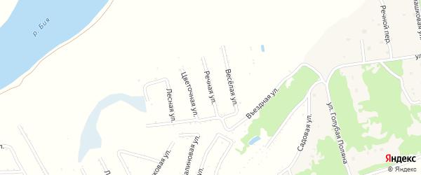 Речная улица на карте садового некоммерческого товарищества Бийчанки с номерами домов