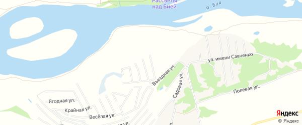 Карта садового некоммерческого товарищества Бийчанки в Алтайском крае с улицами и номерами домов