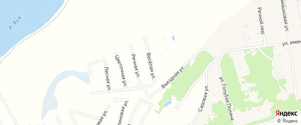 Веселая улица на карте садового некоммерческого товарищества Бийчанки с номерами домов