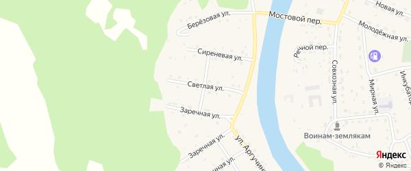Светлая улица на карте села Усть-коксы с номерами домов