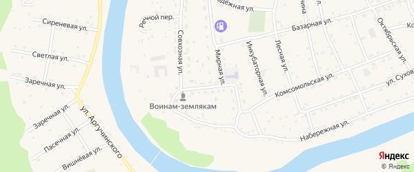 Западная улица на карте села Усть-коксы с номерами домов