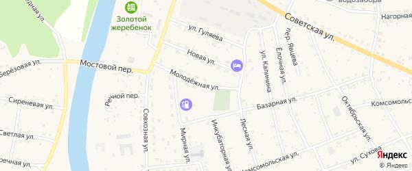 Молодежная улица на карте села Усть-коксы с номерами домов