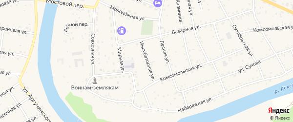 Инкубаторная улица на карте села Усть-коксы с номерами домов