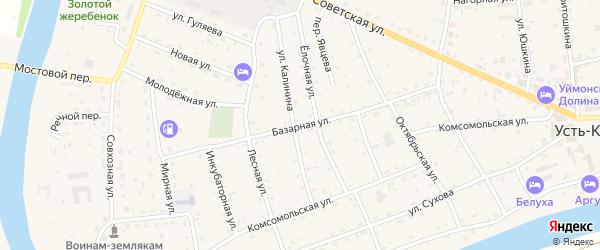 Базарная улица на карте села Усть-коксы с номерами домов