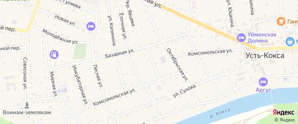 Радужный переулок на карте села Усть-коксы с номерами домов