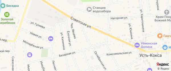 Октябрьская улица на карте села Усть-коксы с номерами домов