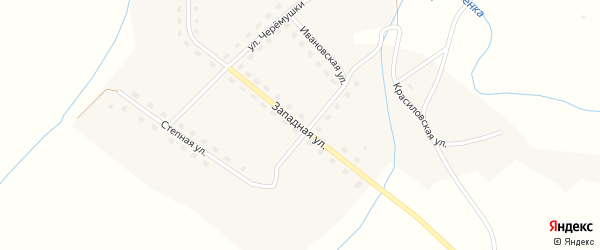 Западная улица на карте села Семено-Красилово с номерами домов