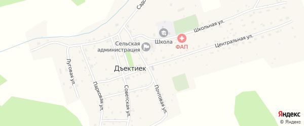Центральная улица на карте села Дъектийка с номерами домов
