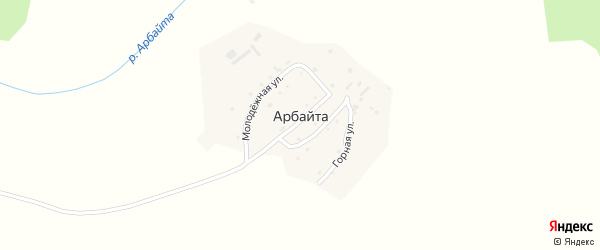 Молодежная улица на карте села Арбайты с номерами домов