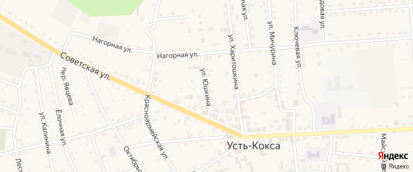 Улица Юшкина на карте села Усть-коксы с номерами домов